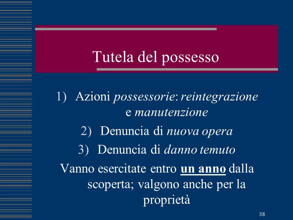 Tutela del possesso Azioni possessorie: reintegrazione e manutenzione