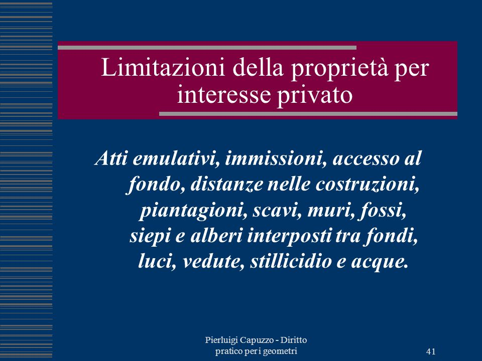 Limitazioni della proprietà per interesse privato