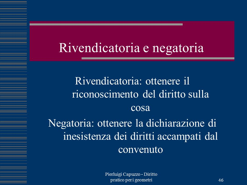 Rivendicatoria e negatoria