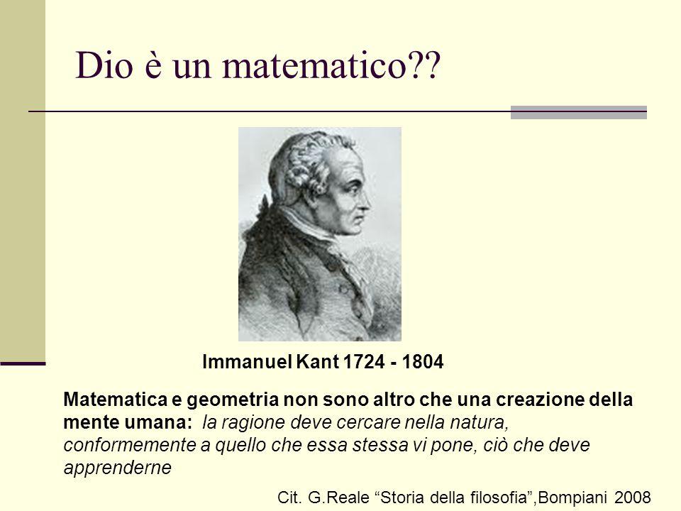 Dio è un matematico Immanuel Kant 1724 - 1804