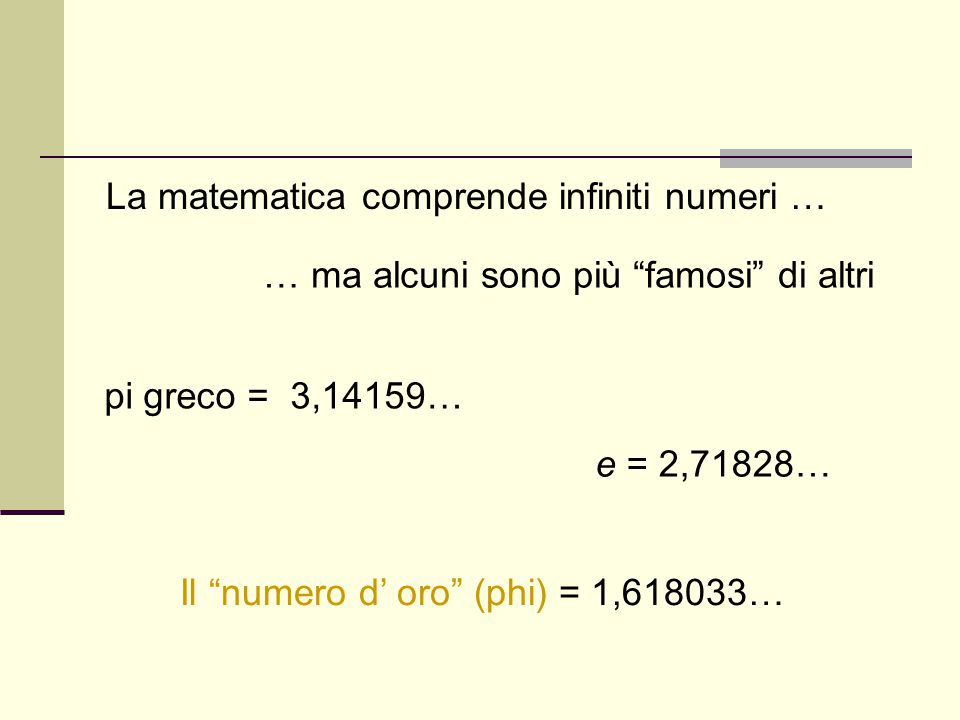 La matematica comprende infiniti numeri …