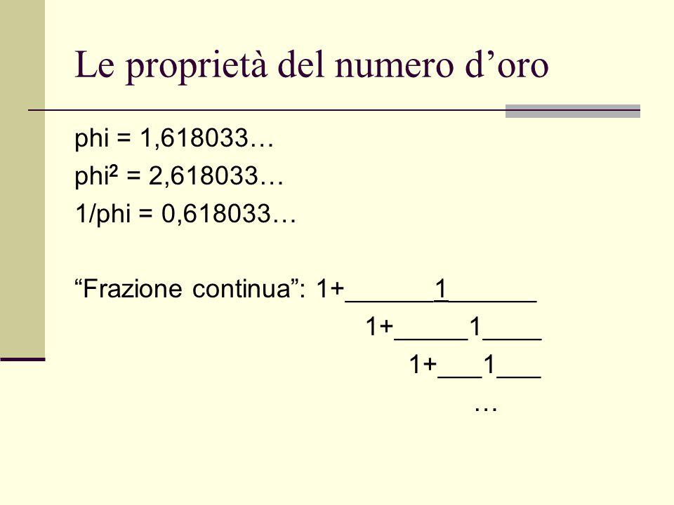 Le proprietà del numero d'oro
