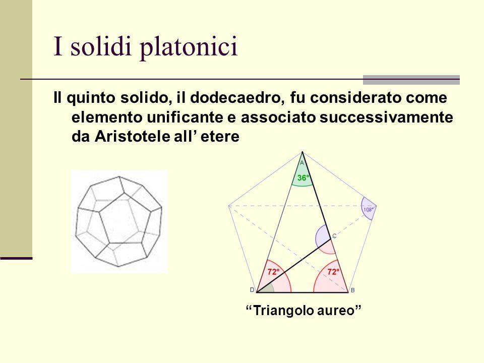 I solidi platonici Il quinto solido, il dodecaedro, fu considerato come elemento unificante e associato successivamente da Aristotele all' etere.