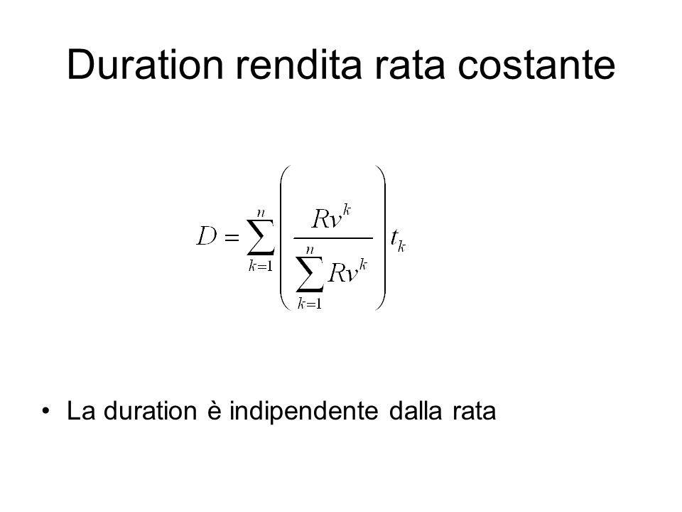 Duration rendita rata costante