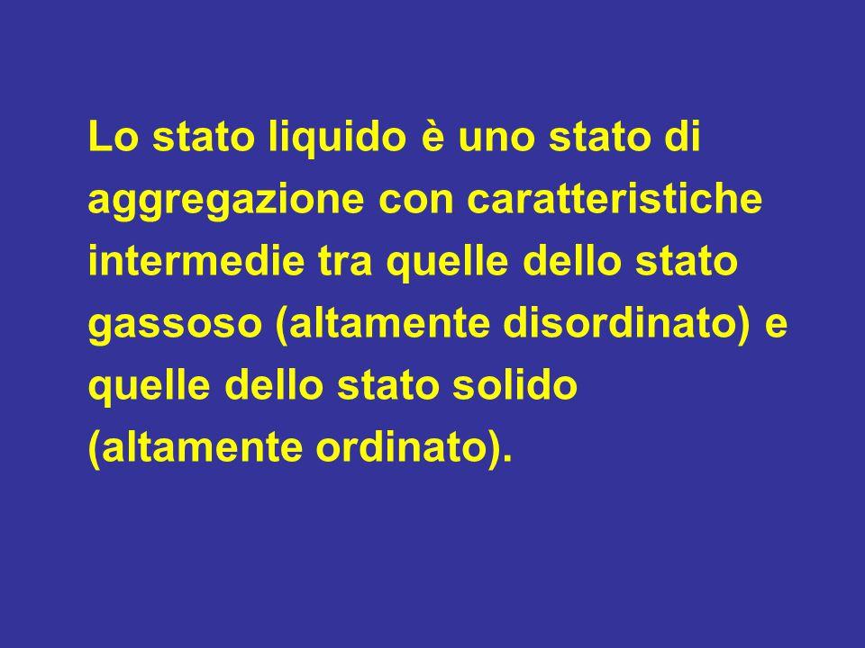 Lo stato liquido è uno stato di aggregazione con caratteristiche intermedie tra quelle dello stato gassoso (altamente disordinato) e quelle dello stato solido (altamente ordinato).