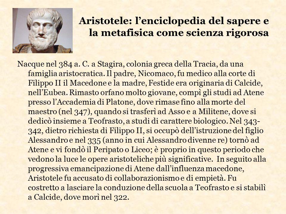 Aristotele: l'enciclopedia del sapere e la metafisica come scienza rigorosa