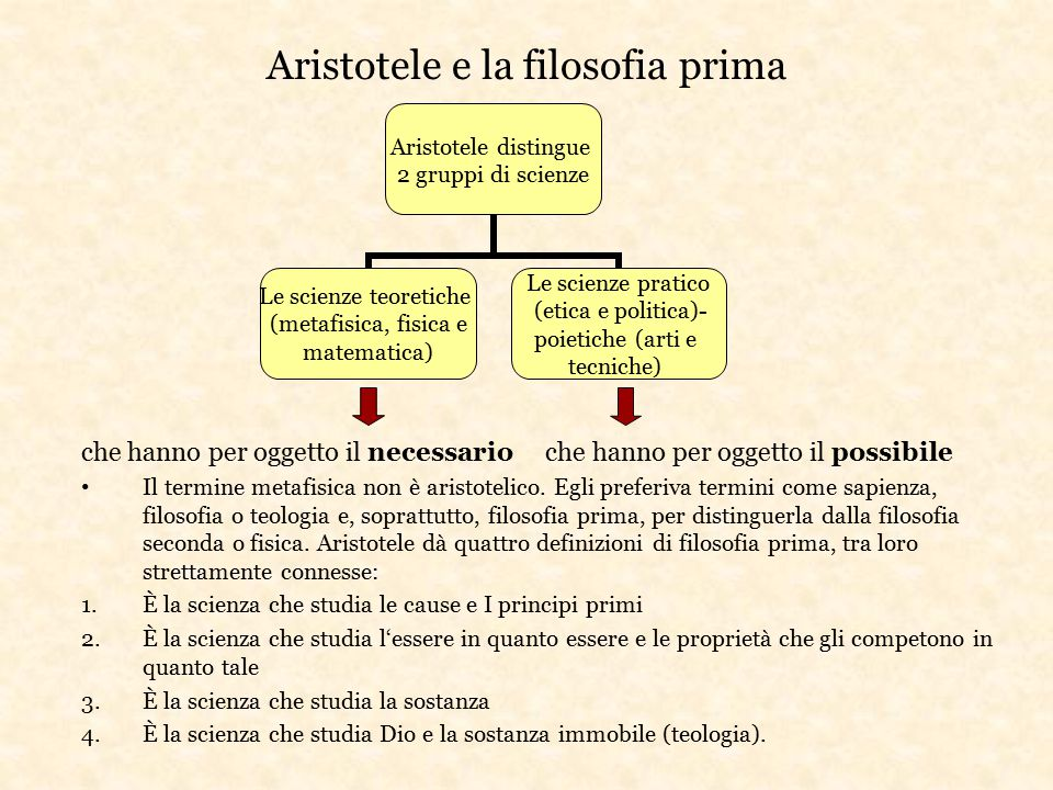 Aristotele e la filosofia prima