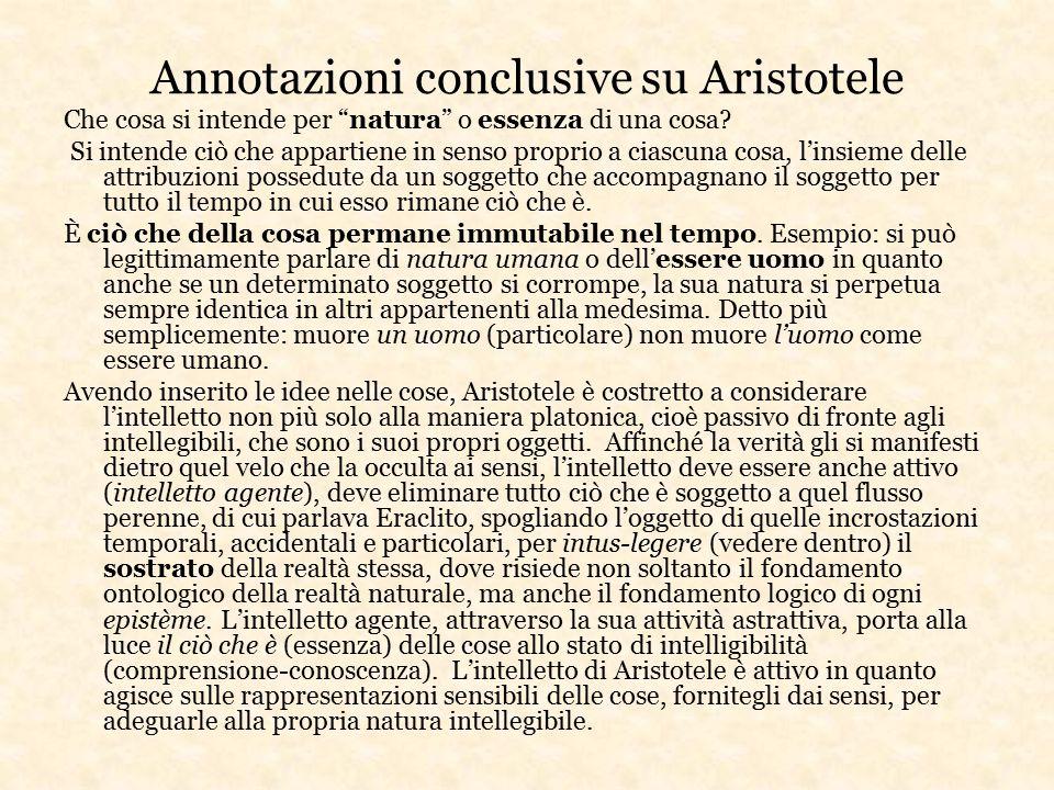 Annotazioni conclusive su Aristotele