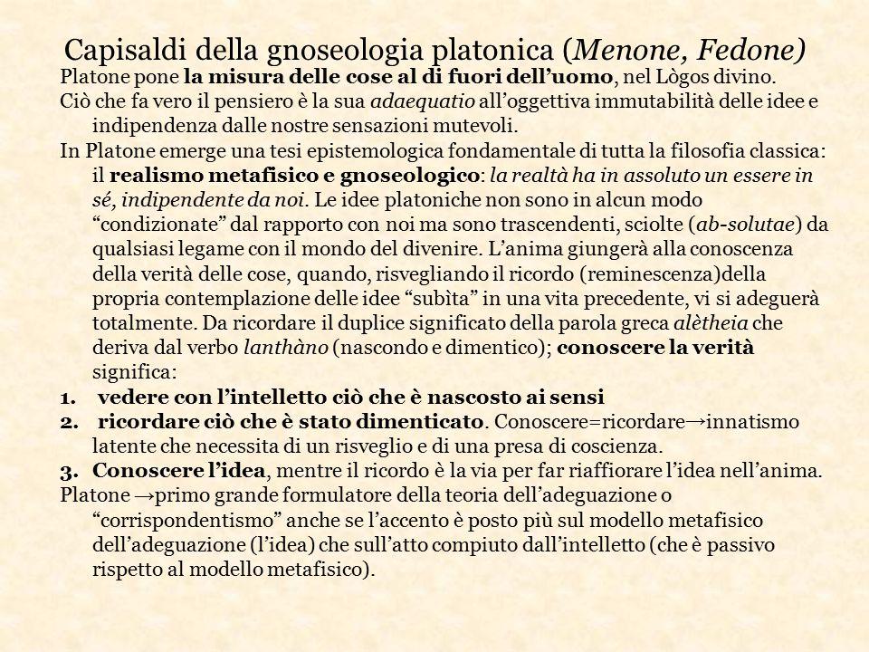 Capisaldi della gnoseologia platonica (Menone, Fedone)