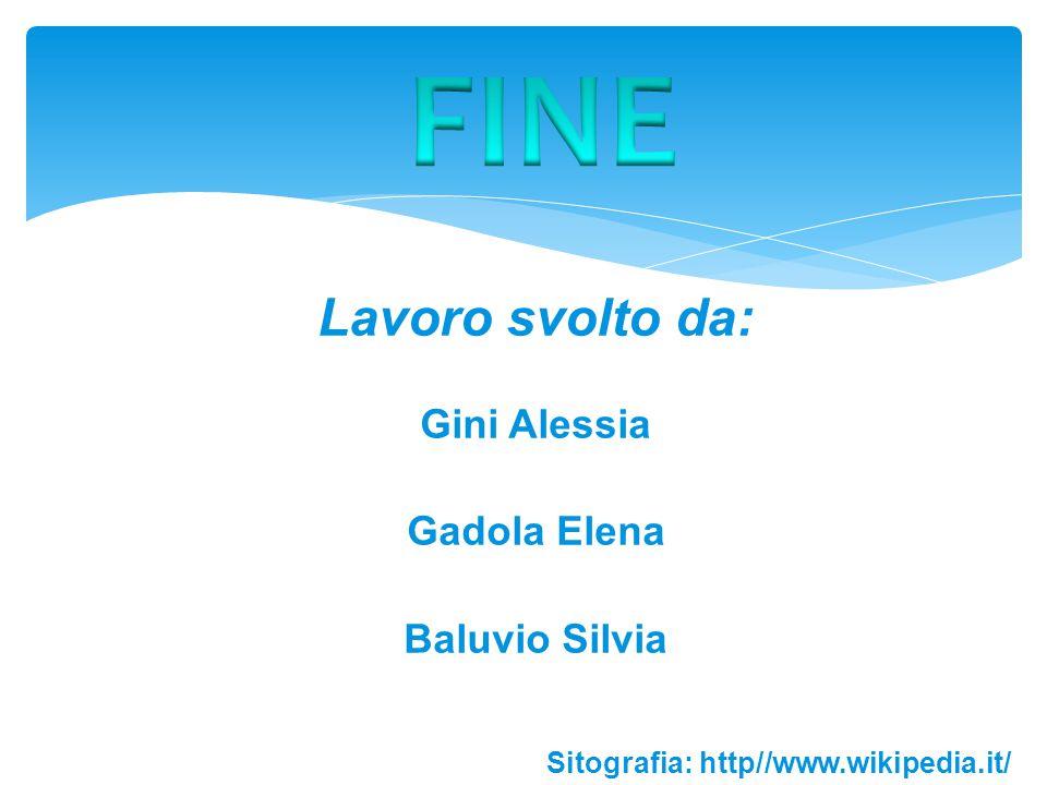FINE Lavoro svolto da: Gini Alessia Gadola Elena Baluvio Silvia