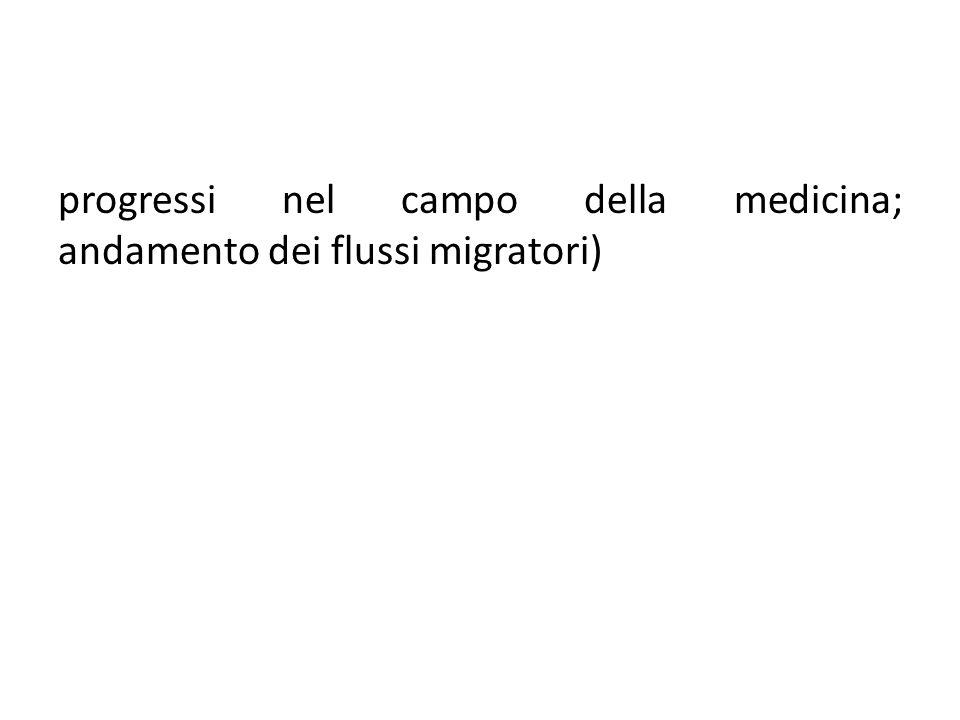 progressi nel campo della medicina; andamento dei flussi migratori)