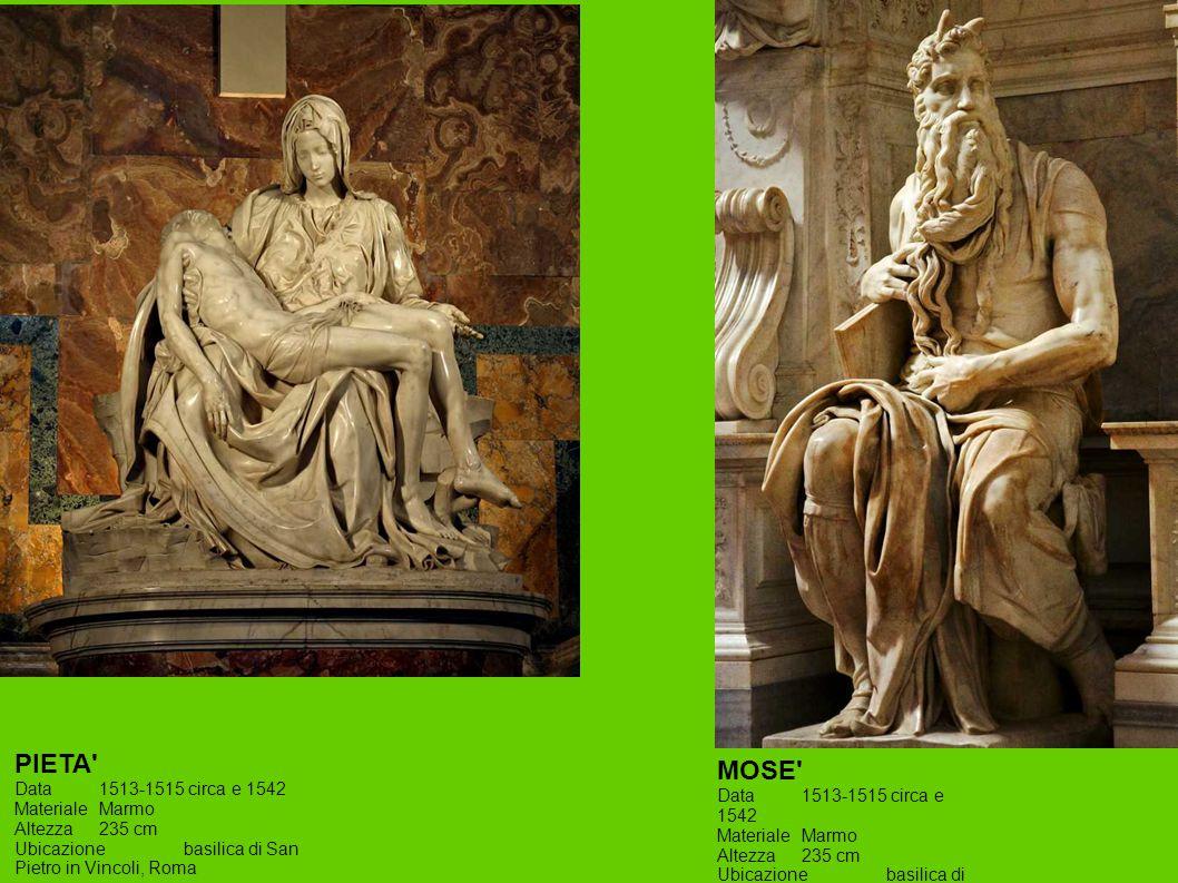 PIETA MOSE Data 1513-1515 circa e 1542 Materiale Marmo