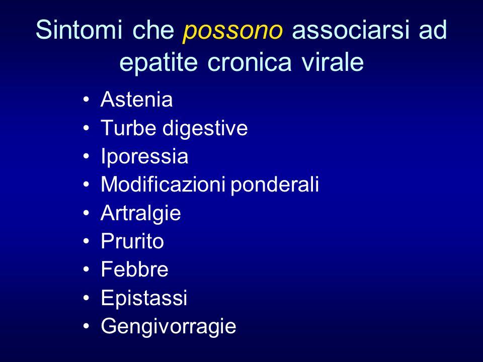 Sintomi che possono associarsi ad epatite cronica virale