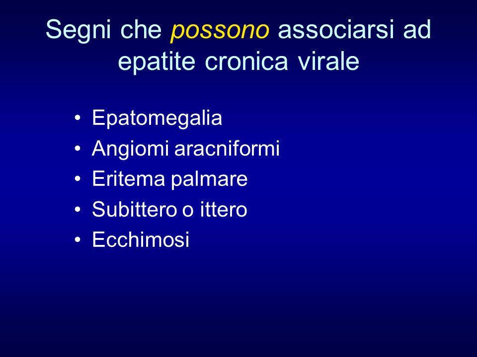 Segni che possono associarsi ad epatite cronica virale