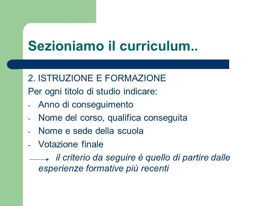 Sezioniamo il curriculum..