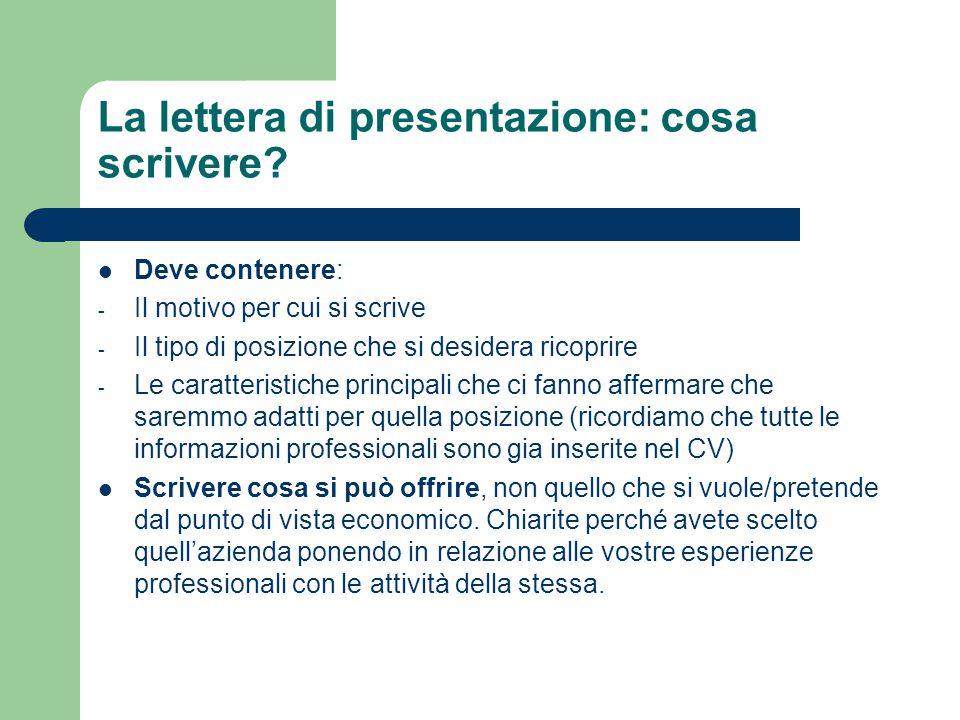 La lettera di presentazione: cosa scrivere