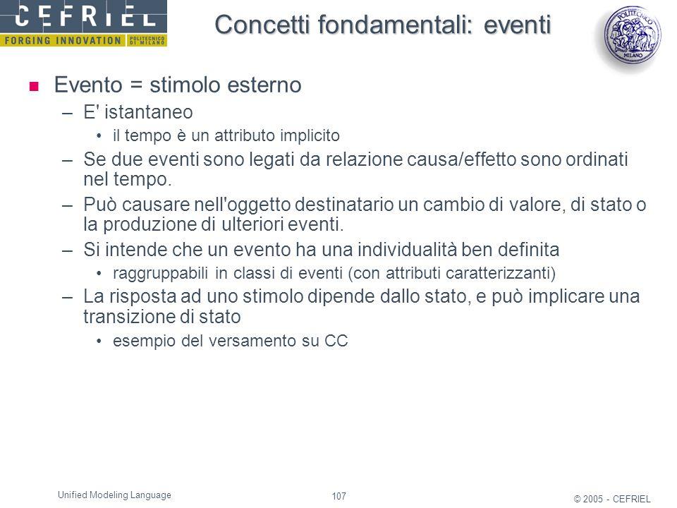 Concetti fondamentali: eventi