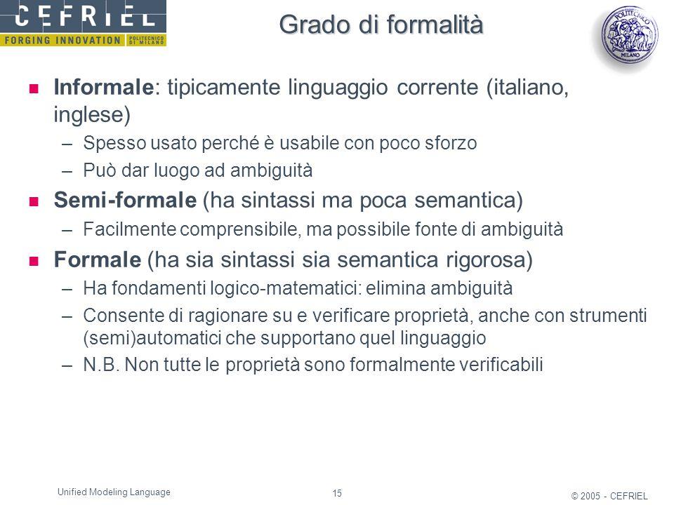 Grado di formalità Informale: tipicamente linguaggio corrente (italiano, inglese) Spesso usato perché è usabile con poco sforzo.