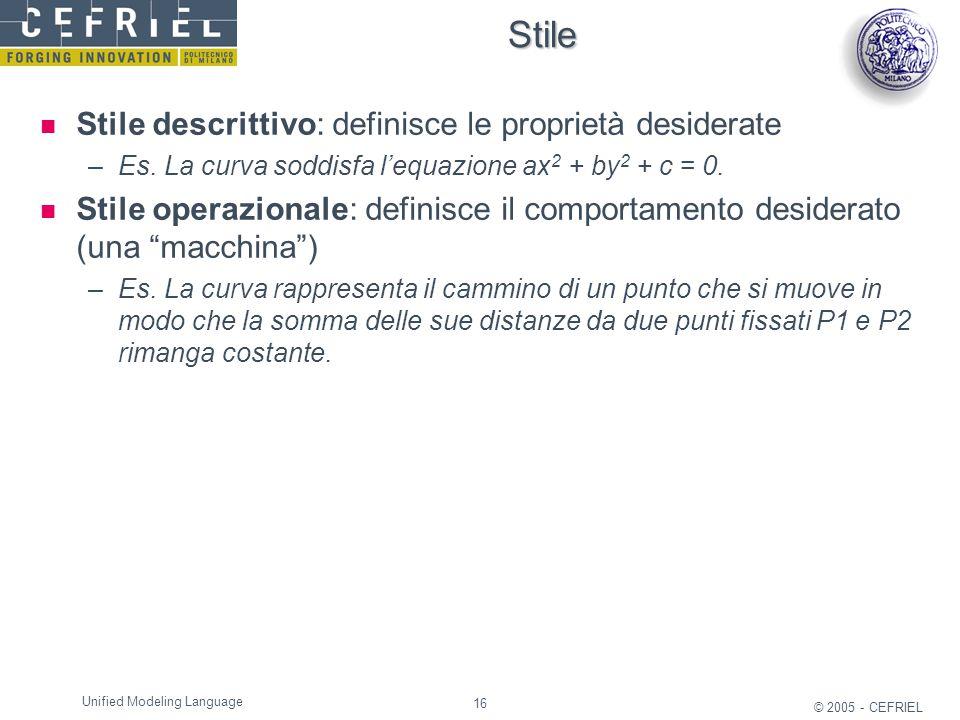 Stile Stile descrittivo: definisce le proprietà desiderate