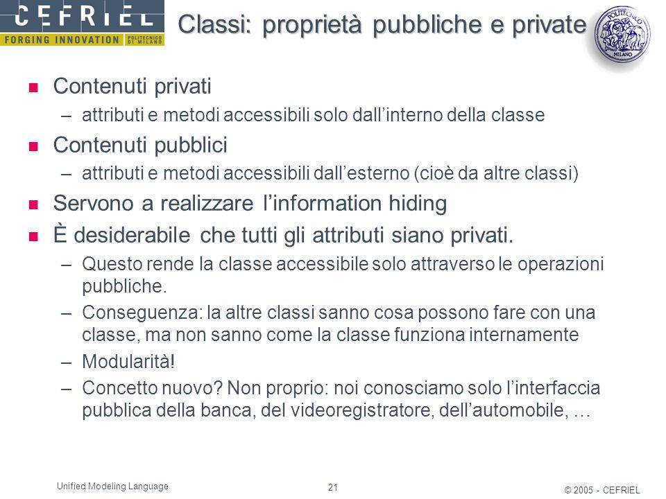 Classi: proprietà pubbliche e private