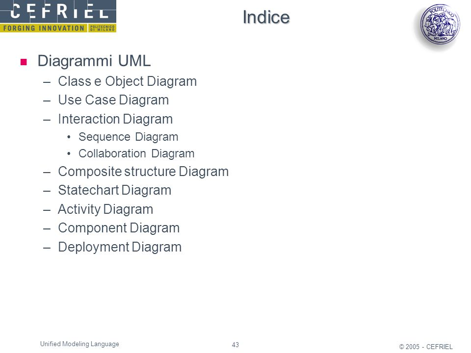Indice Diagrammi UML Class e Object Diagram Use Case Diagram
