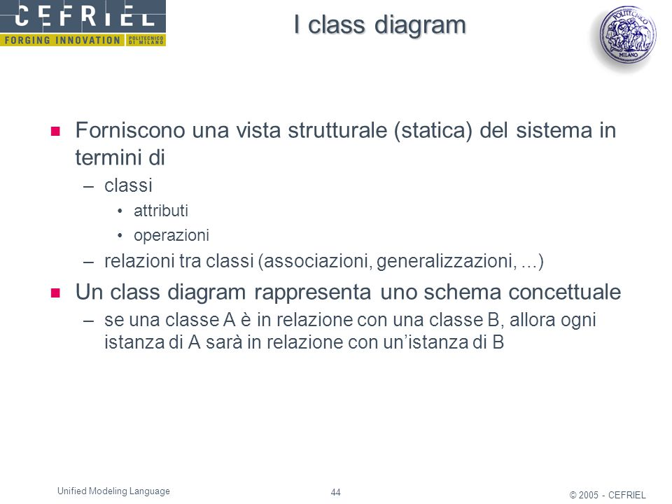 I class diagram Forniscono una vista strutturale (statica) del sistema in termini di. classi. attributi.