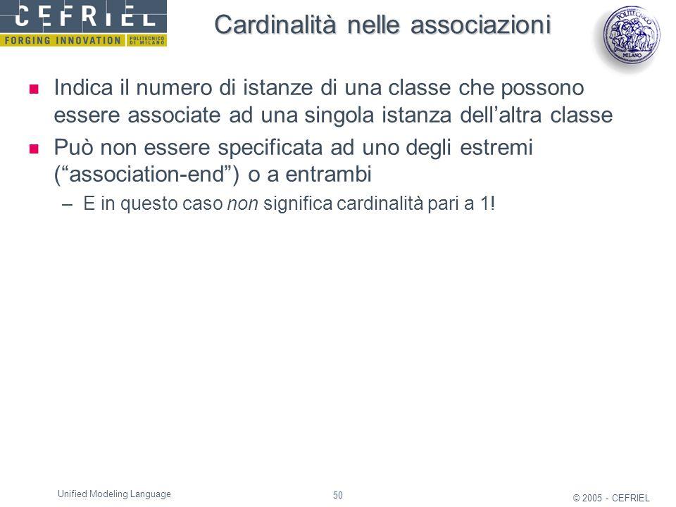 Cardinalità nelle associazioni