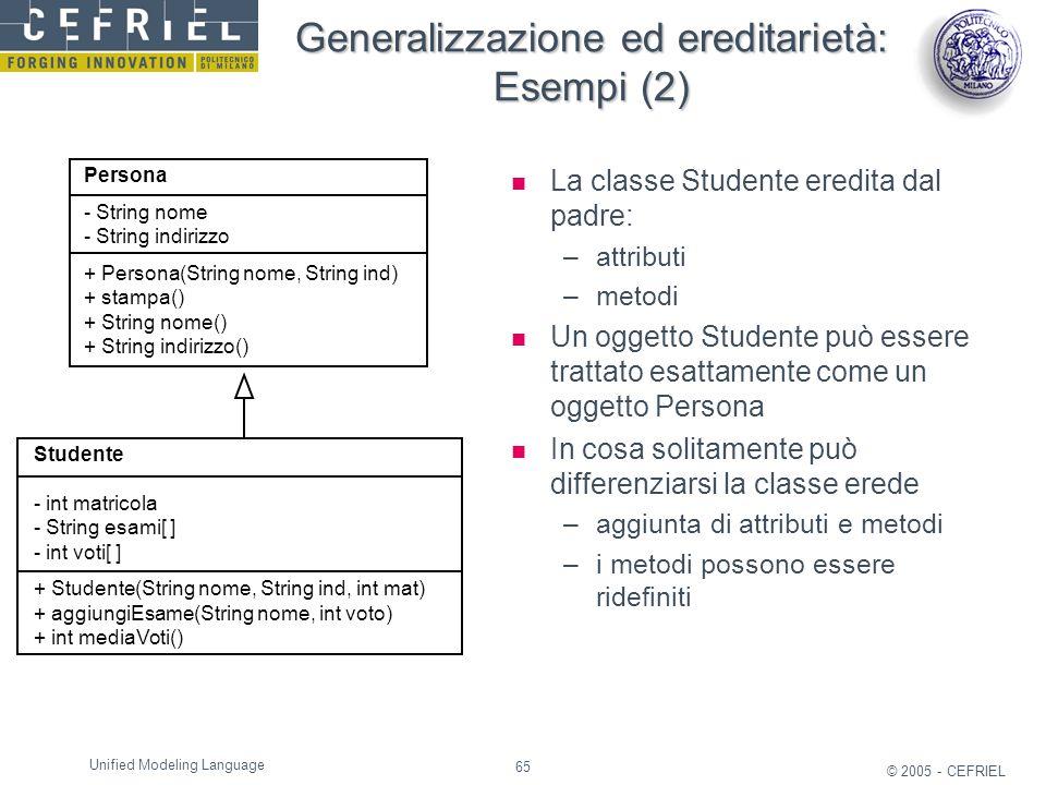 Generalizzazione ed ereditarietà: Esempi (2)