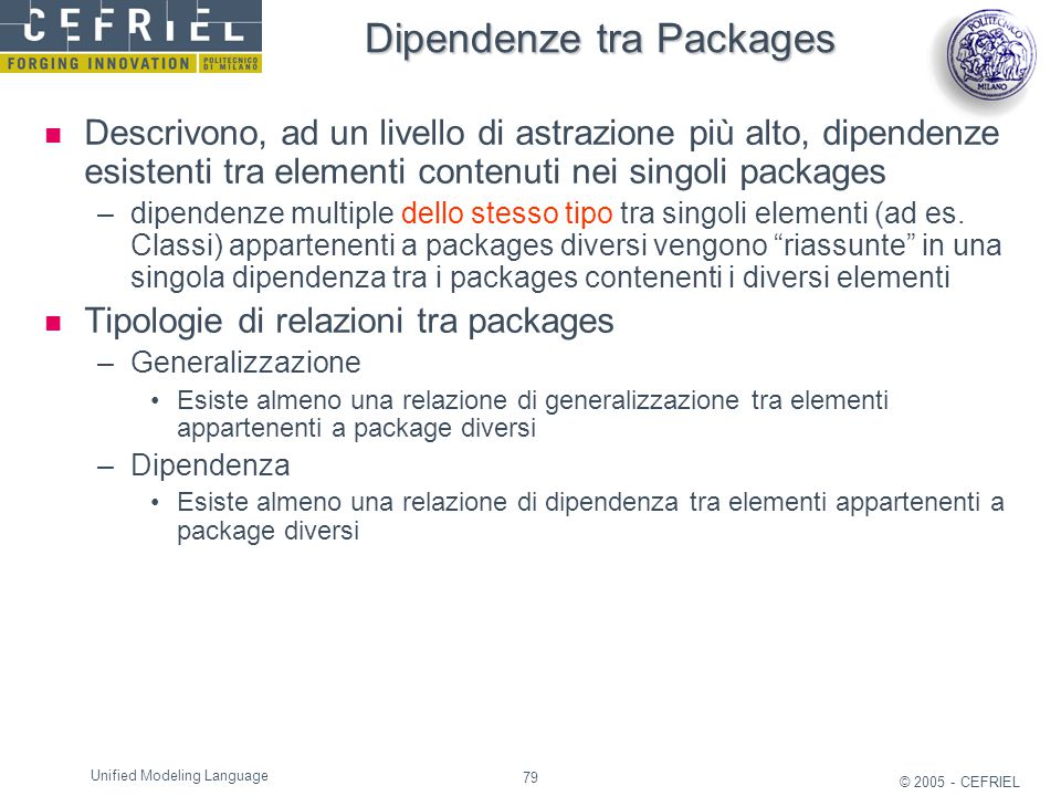 Dipendenze tra Packages