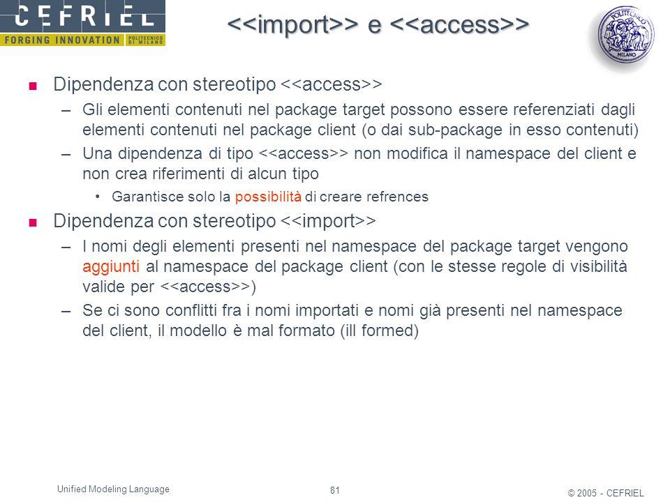 <<import>> e <<access>>