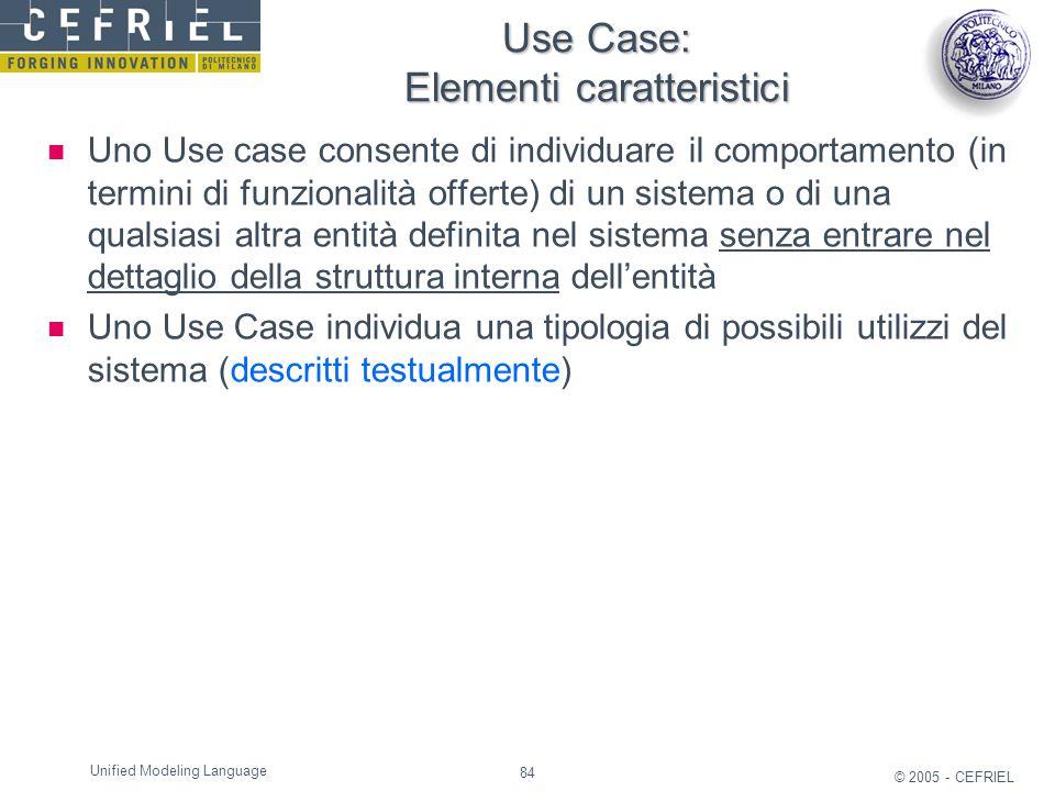 Use Case: Elementi caratteristici