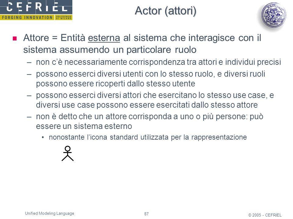 Actor (attori) Attore = Entità esterna al sistema che interagisce con il sistema assumendo un particolare ruolo.
