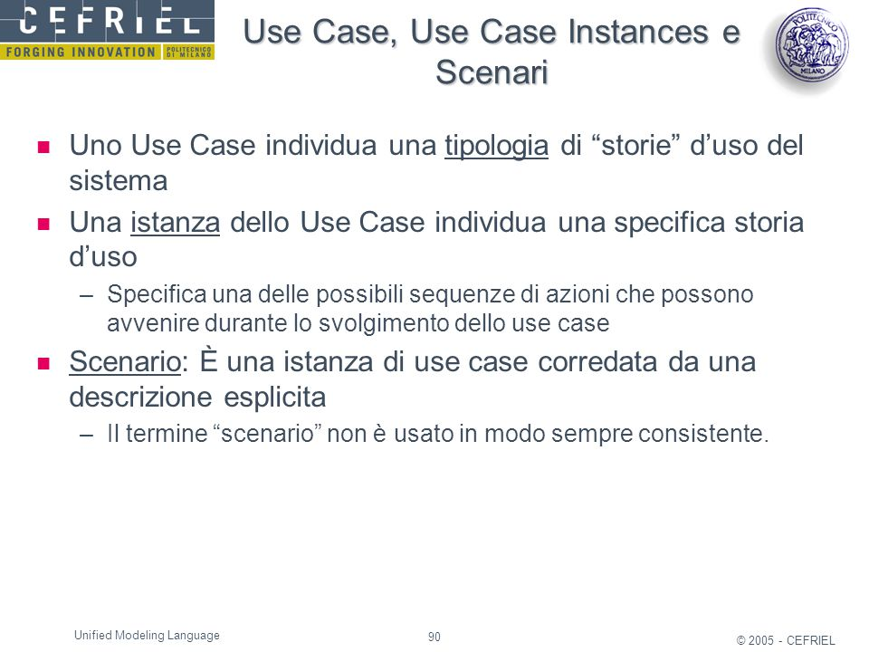Use Case, Use Case Instances e Scenari