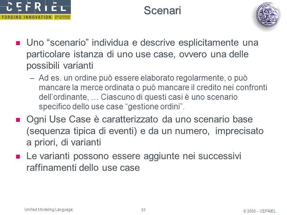 Scenari Uno scenario individua e descrive esplicitamente una particolare istanza di uno use case, ovvero una delle possibili varianti.