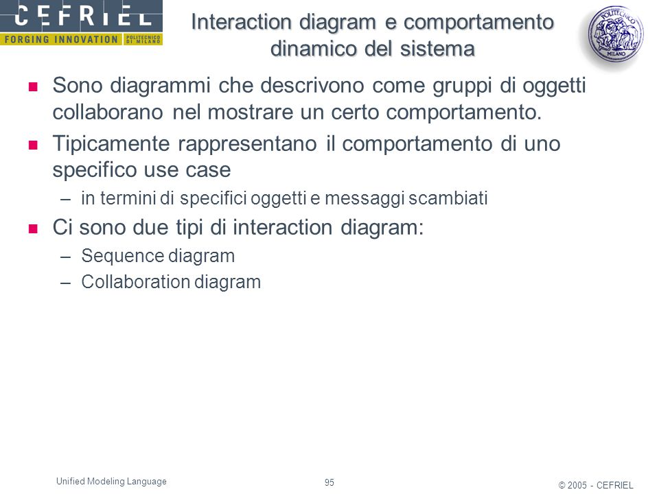 Interaction diagram e comportamento dinamico del sistema