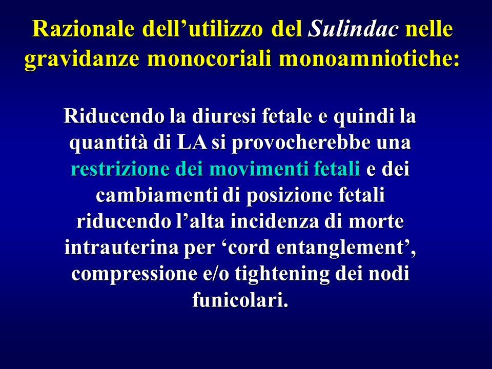 Razionale dell'utilizzo del Sulindac nelle gravidanze monocoriali monoamniotiche: