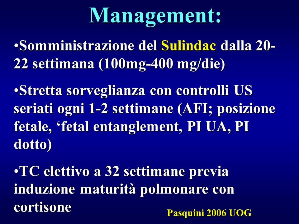 Management: Somministrazione del Sulindac dalla 20-22 settimana (100mg-400 mg/die)