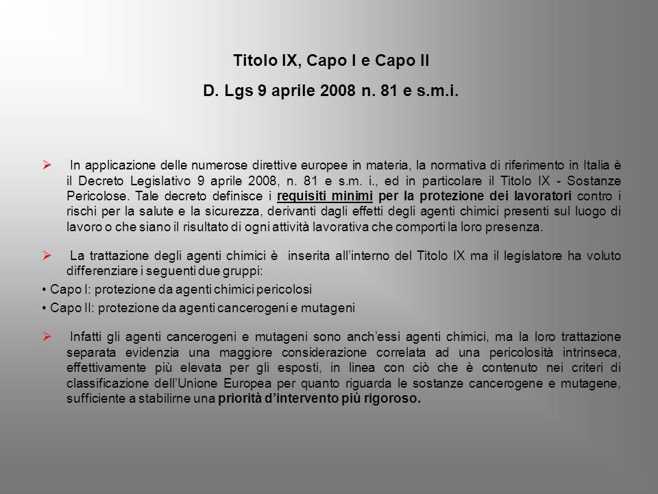 Titolo IX, Capo I e Capo II