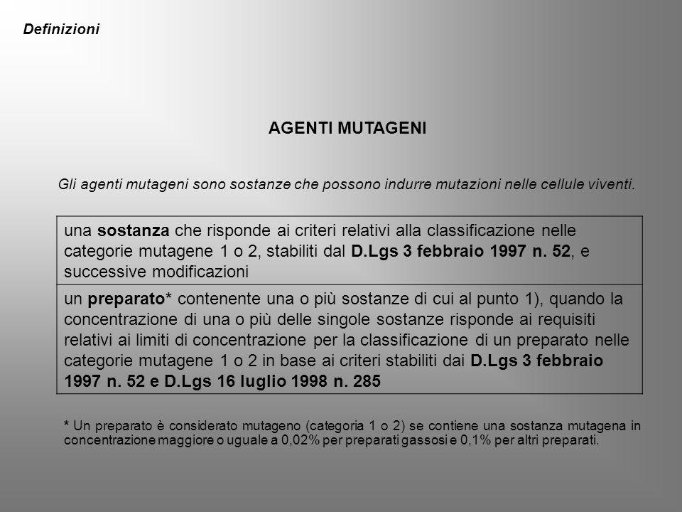 Definizioni AGENTI MUTAGENI. Gli agenti mutageni sono sostanze che possono indurre mutazioni nelle cellule viventi.
