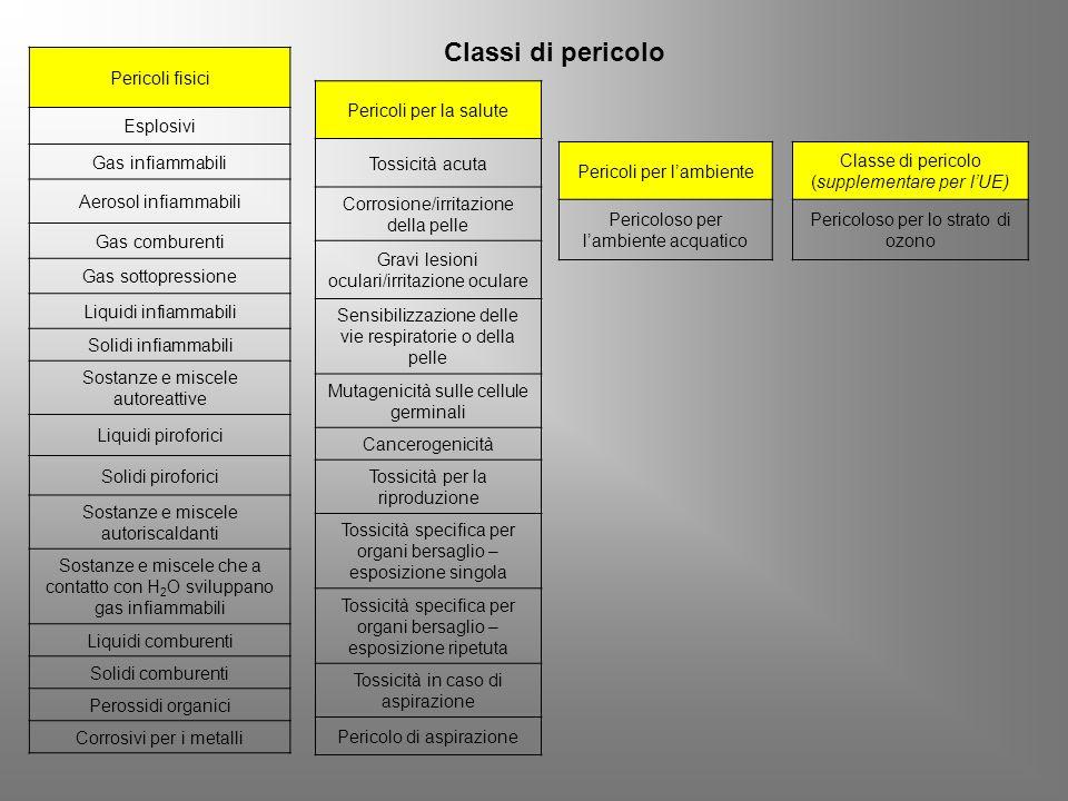 Classi di pericolo Pericoli fisici Esplosivi Gas infiammabili