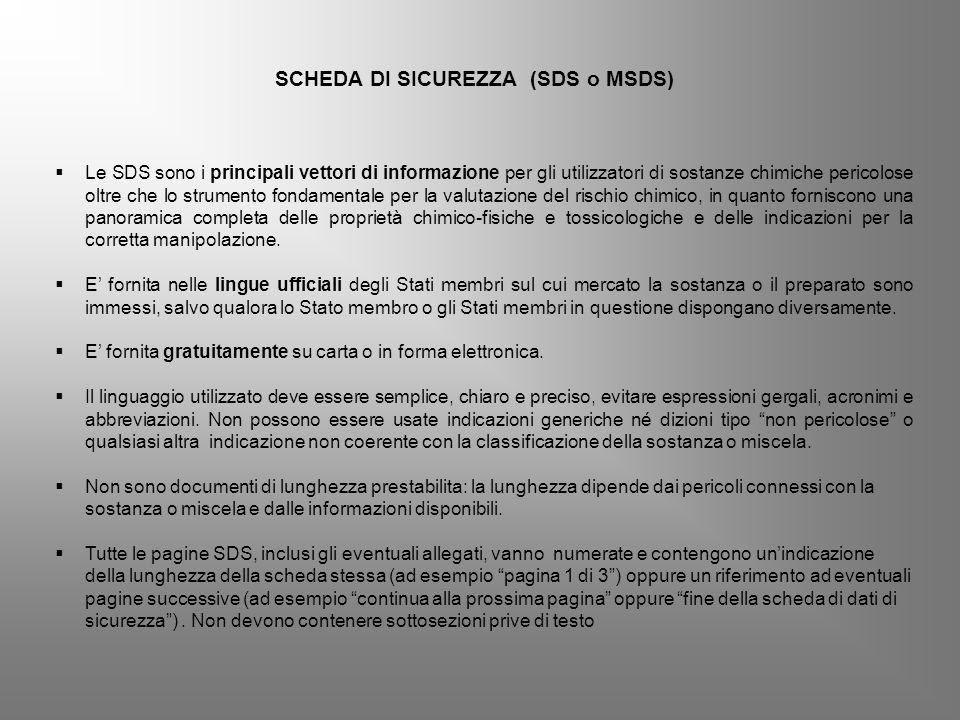 SCHEDA DI SICUREZZA (SDS o MSDS)