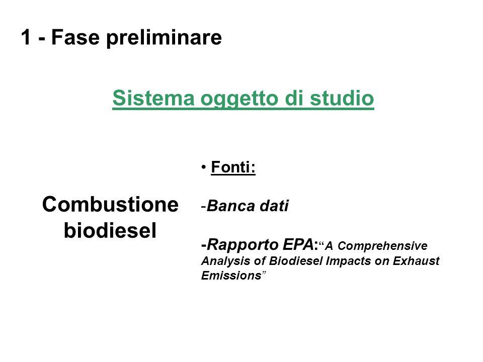 Sistema oggetto di studio Combustione biodiesel