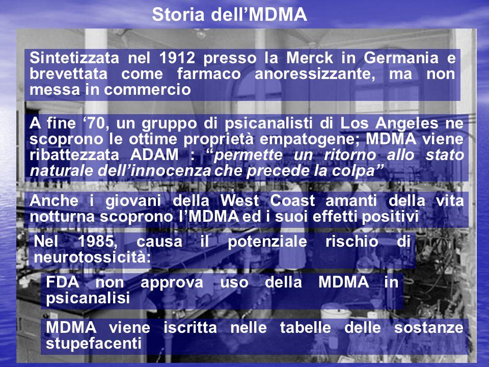 Storia dell'MDMA Sintetizzata nel 1912 presso la Merck in Germania e brevettata come farmaco anoressizzante, ma non messa in commercio.