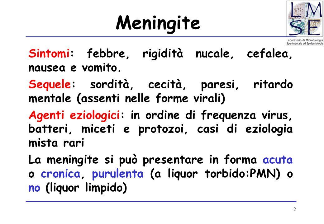 Meningite Sintomi: febbre, rigidità nucale, cefalea, nausea e vomito.