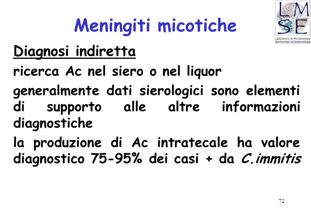 Meningiti micotiche Diagnosi indiretta