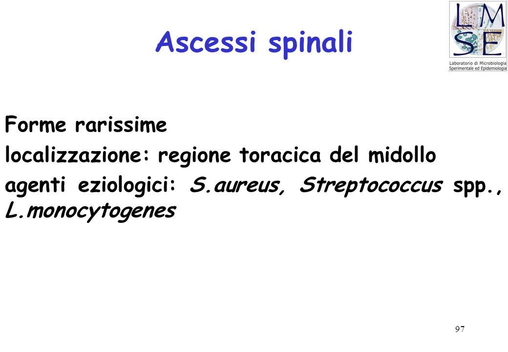 Ascessi spinali Forme rarissime