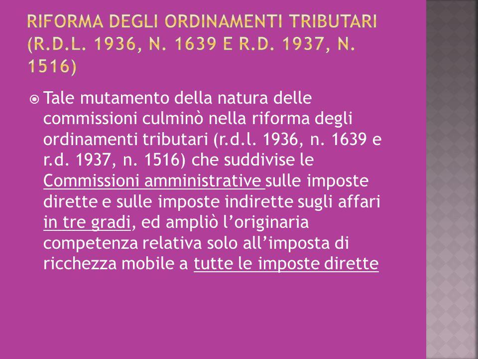 riforma degli ordinamenti tributari (r. d. l. 1936, n. 1639 e r. d