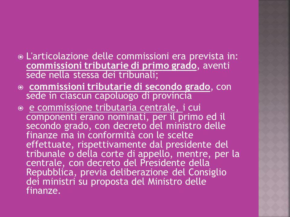 L articolazione delle commissioni era prevista in: commissioni tributarie di primo grado, aventi sede nella stessa dei tribunali;