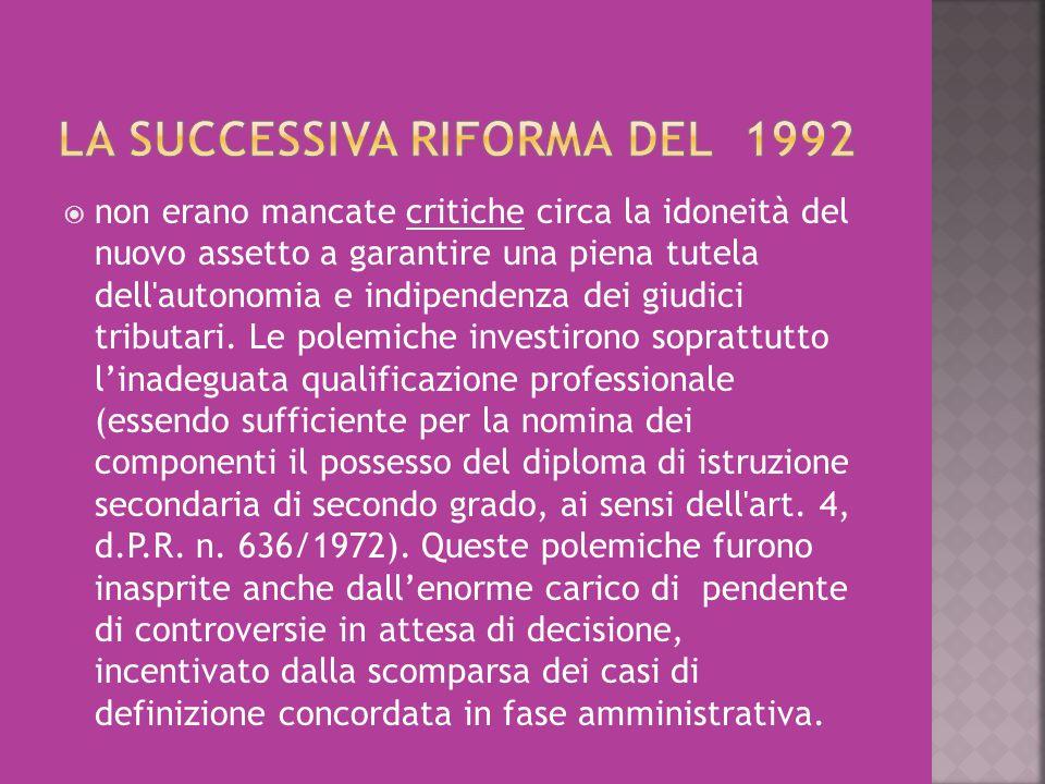 LA SUCCESSIVA RIFORMA DEL 1992