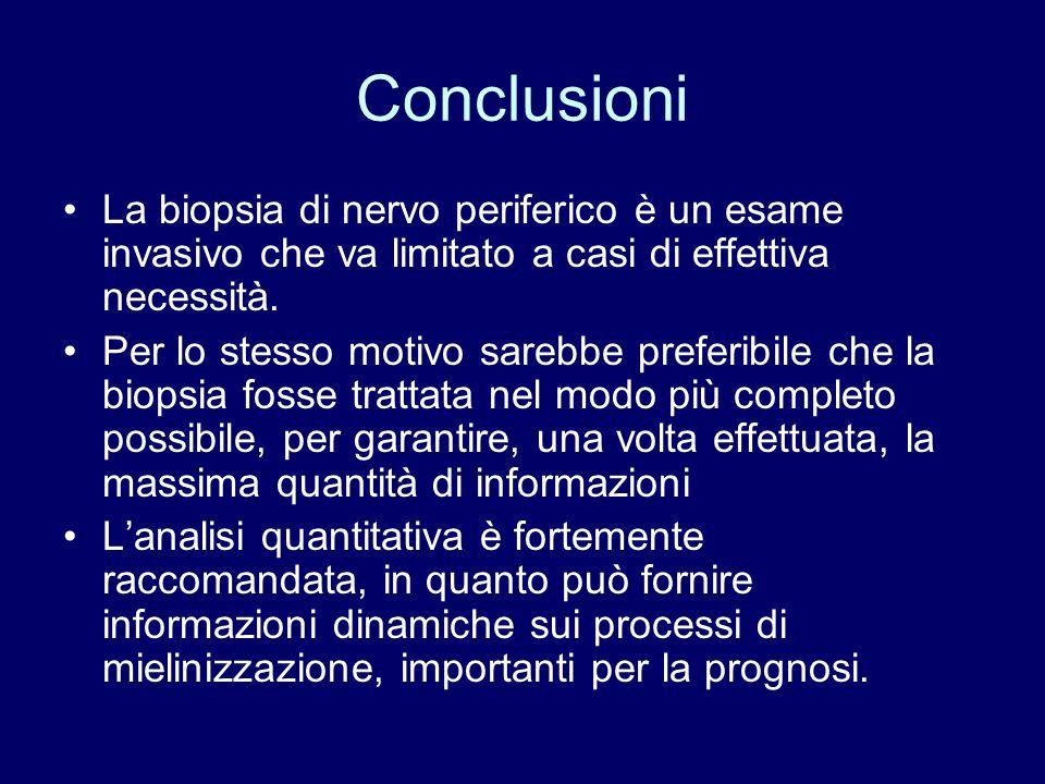 Conclusioni La biopsia di nervo periferico è un esame invasivo che va limitato a casi di effettiva necessità.